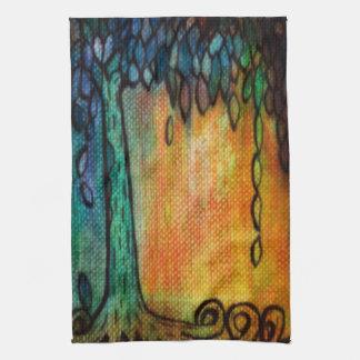 Árbol de la joya y toalla de cocina coloridos de