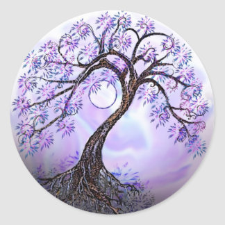 Árbol de la lavanda del Rev 2. de la vida Pegatina Redonda