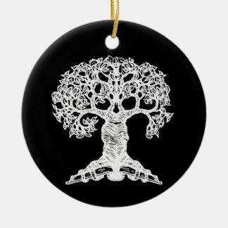 Árbol de la lectura - ornamento del regalo adorno navideño redondo de cerámica