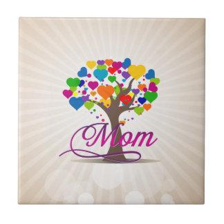 Árbol de la mamá de los corazones de la vida azulejo cuadrado pequeño