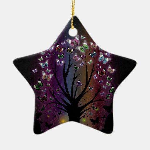 Árbol de la mariposa adorno navideño de cerámica en forma de estrella
