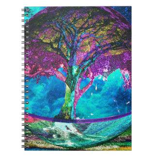 Árbol de la meditación de la vida libretas espirales