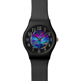 Árbol de la meditación de la vida en púrpura relojes de mano