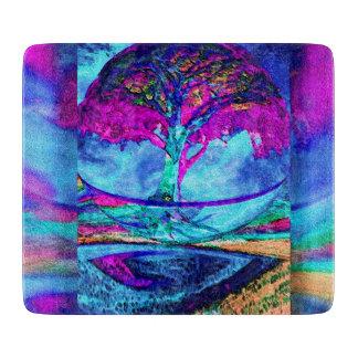 Árbol de la meditación de la vida en púrpura tabla para cortar