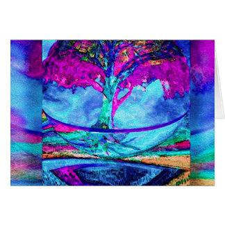 Árbol de la meditación de la vida en púrpura tarjeta pequeña