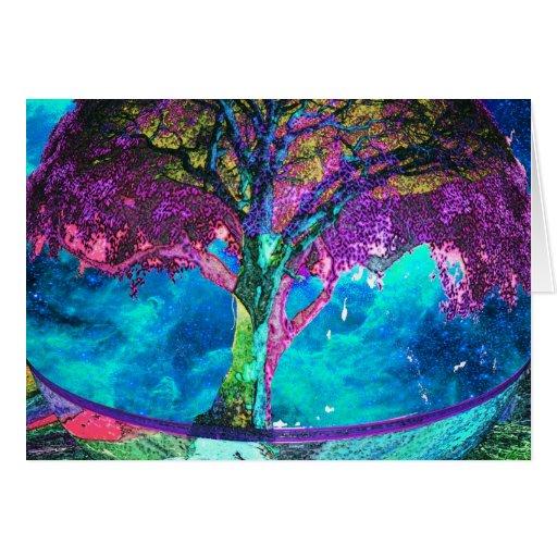 Árbol de la meditación de la vida tarjeta de felicitación