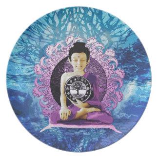 Árbol de la meditación y de la paz de la vida platos para fiestas