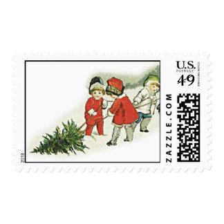 Árbol de la nieve de los sellos del día de fiesta