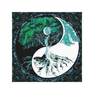 Árbol de la noche del claro de luna de Yin Yang de Lona Envuelta Para Galerias
