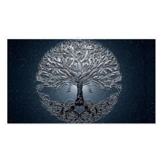 Árbol de la noche pacífica del cielo azul de la tarjetas de visita