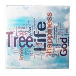 Árbol de la nube de la palabra de la vida azulejo ceramica