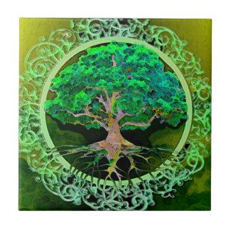 Árbol de la paciencia de la vida azulejo cuadrado pequeño
