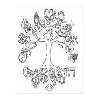 Árbol de la paz - blanco y negro postales