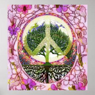 Árbol de la paz de la vida en la tierra 2 póster