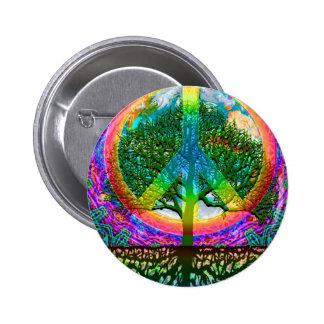 Árbol de la paz de la vida pin redondo de 2 pulgadas