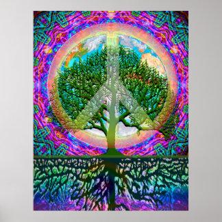 Árbol de la paz de la vida póster