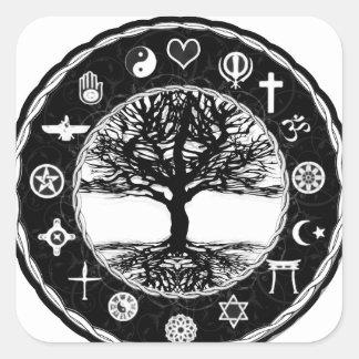 Árbol de la paz de las religiones del mundo de la pegatina cuadrada