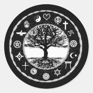 Árbol de la paz de las religiones del mundo de la pegatina redonda