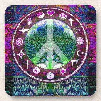 Árbol de la paz de las religiones del mundo de la posavasos de bebidas