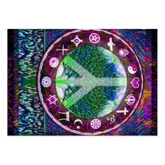 Árbol de la paz de las religiones del mundo de la tarjetas de visita grandes