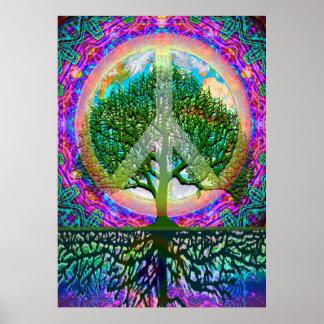Árbol de la paz de mundo de la vida póster