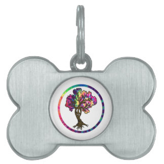 Árbol de la paz del Hippie en placa de Placa De Nombre De Mascota