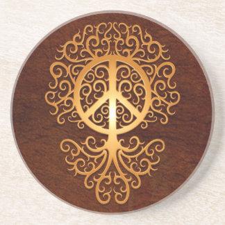 Árbol de la paz marrón posavasos manualidades