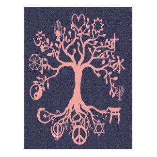 Árbol de la paz - melocotón y azul tarjeta postal
