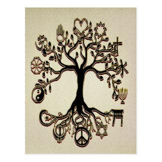 Árbol de la paz - negro, moreno y oro tarjetas postales
