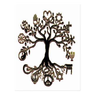 Árbol de la paz - negro y oro postal