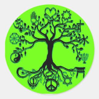 Árbol de la paz pegatina redonda