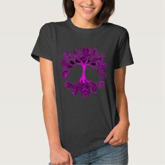 Árbol de la paz - rosa del neón polera
