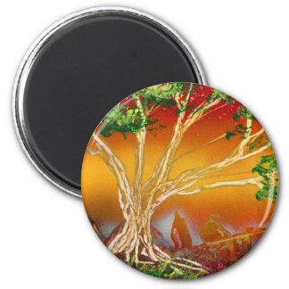 Árbol de la pintura de aerosol contra v1 anaranjad imán para frigorifico