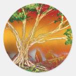 Árbol de la pintura de aerosol contra v1 anaranjad pegatina redonda