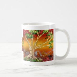 Árbol de la pintura de aerosol contra v1 anaranjad taza básica blanca