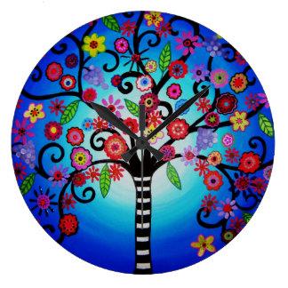 Árbol de la pintura de Mitzvah del palo de la barr Reloj