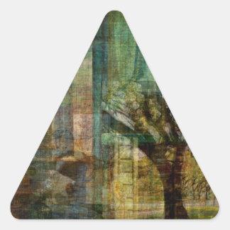 ÁRBOL de la pintura del arte de la VIDA Pegatina Triangular