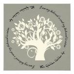 Árbol de la plata hebrea del boda judío de la vida invitacion personal