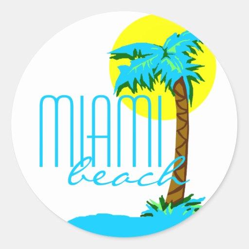 Árbol de la Playa-Palma de Miami Pegatina Redonda