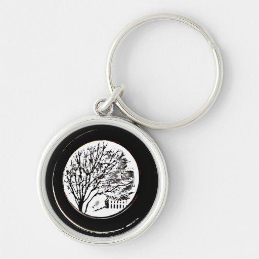 Árbol de la porta - blanco y negro llaveros