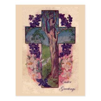 Árbol de la postal del cristiano del vintage de Pa
