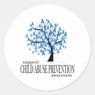 Árbol de la prevención de la pederastia etiquetas redondas
