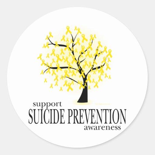 Árbol de la prevención del suicidio pegatina redonda