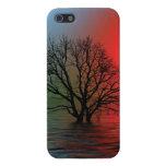 Árbol de la puesta del sol iPhone 5 carcasas