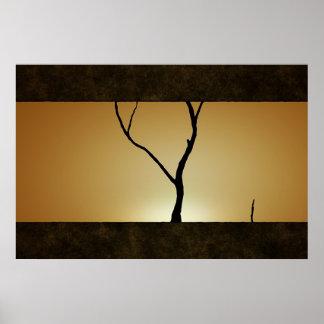 Árbol de la puesta del sol póster