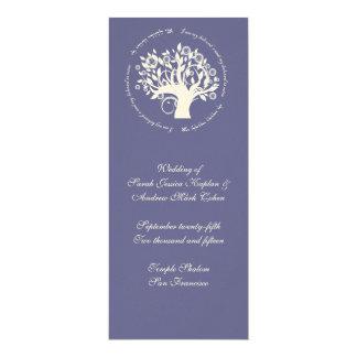 "Árbol de la púrpura de la tarjeta de la ceremonia invitación 4"" x 9.25"""