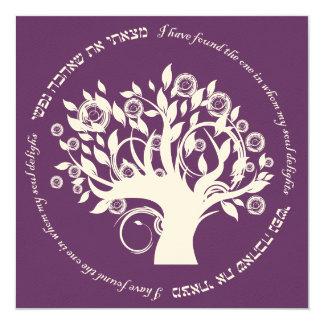 """Árbol de la púrpura hebrea del boda judío de la invitación 5.25"""" x 5.25"""""""