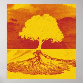 Árbol de la relajación de la vida póster