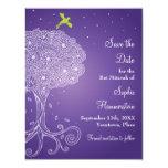 Árbol de la reserva púrpura de Mitzvah del palo de Invitación 10,8 X 13,9 Cm
