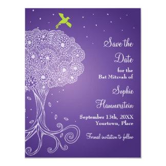 Árbol de la reserva púrpura de Mitzvah del palo de Invitación